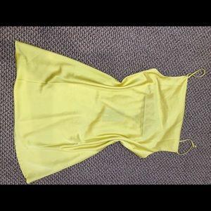 NEVER WORN. Yellow crown neck satin dress